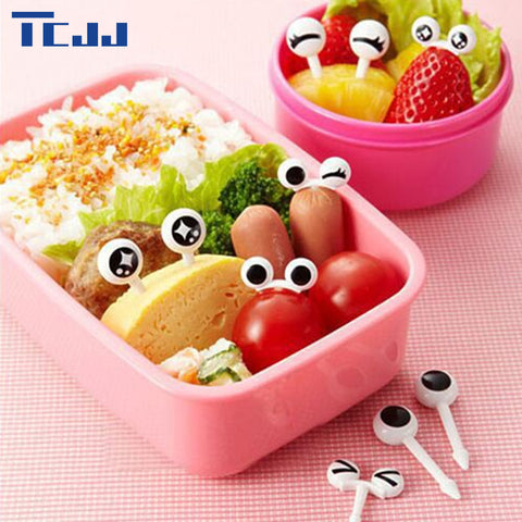 10pcs Lovely Cute Mini Eye Cartoon Fruit Fork Plastic Fruit Toothpick Bento Lunch for Lunch Box Children Decorative Tableware