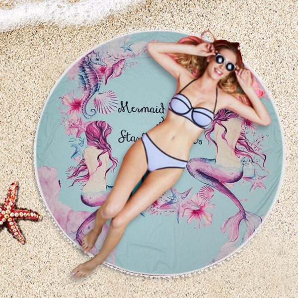 146cm Mermaid Round Beach Towel with Tassel Women Yoga Mat Blanket Large Cooling Swimming Bath Towel