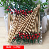 12 Cm 100pcs Red fingers bamboo stickdisposable fruit fork  interesting dessert cocktail sign wedding decorative party supplies