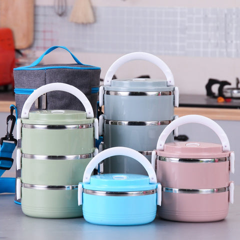 Portable Cute Mini Lunch Bento Box Thermal Insulation Leak-Proof Stainless Steel Dinnerware Sets