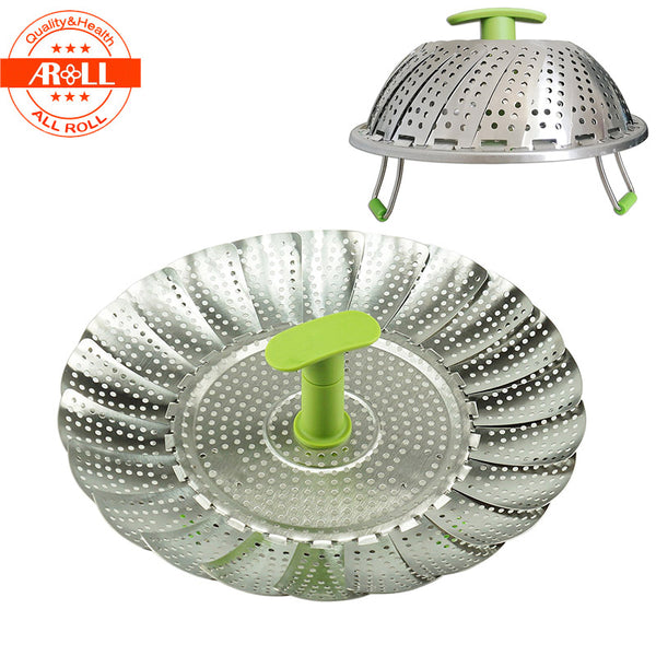 "11"" Stainless Steel Vegetable Steamer for Cooking Metal Steam Rack with Plastic Handle Mesh Washer Basket Bowl Cooker Steamer"