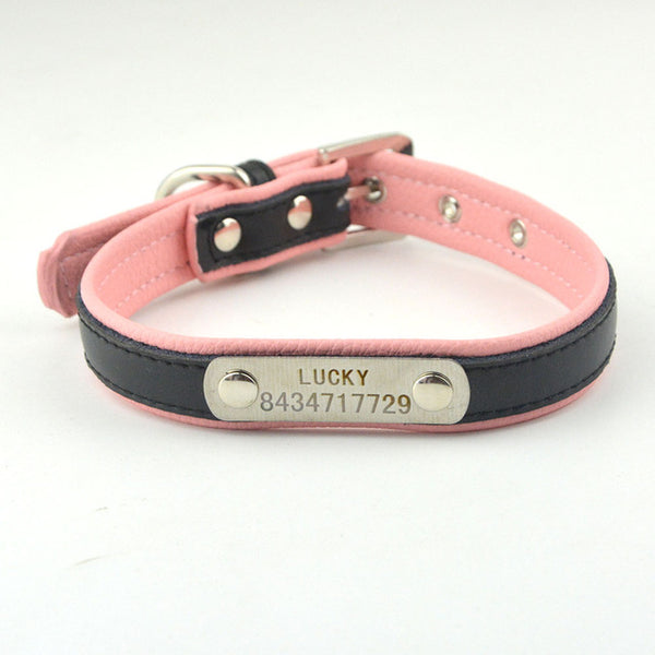 10 Colors 5 Sizes Pet Personalized Collar Soft Leather Laser Free Engraving Pet Name Phone ID Dog Cat Puppy Collars