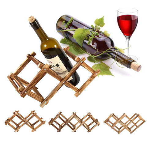 Wooden Classical Red Wine Rack Beer Foldable 3/5/6 Bottle Holder Kitchen Bar Display Shelf Organizer Home Table Decor
