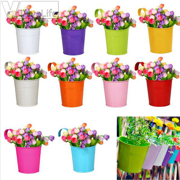 10pcs Newest Garden Decoration Supplies Iron Pastoral Balcony Pots Planters Wall Hanging Metal Bucket Flower Holder Hot