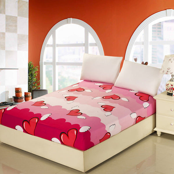 12 colors Solid Flower Design Bed Sheet with Elastic 100%Cotton Mattress Protector Queen/King Fitted Sheet Cotton