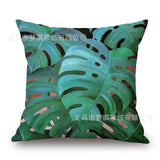 18'' Square Green Tropical Plants Leaves Linen Pillow Case Cushion Cover For Home Car Hotel Decoration Customized Drop Shipping