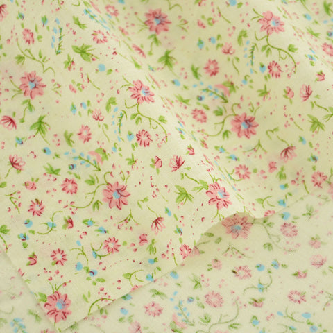 Booksew Cotton Fabric Patchwork Lovely Flowers Designs Clothing Fat Quarter Crafts Dolls Decoration Home Textile Beige Tissue
