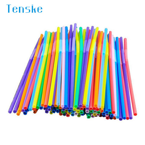 100pcs Multicolor Long Straight Drinking Straws Home Bar Party Cocktail Drink Straw u70710