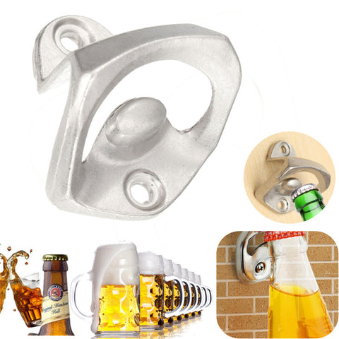 High Quality 40x41cm Zinc Alloy Wall Mount Open Wine Beer Soda Glass Cap Bottle Opener Silver Kitchen Bar Club KTV Tool Gift