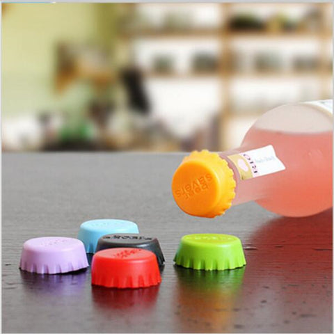 6 pcs/set Kitchen multicolor Silicone Button Beer Wine Cork Stopper Plug Bottle Cap Cover Perfect Home Kitchen Tools