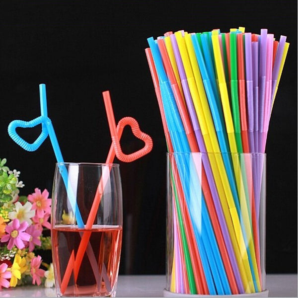 50pcs Drinking Straw Plastic Colorful Disposable Kitchen Bar Accessories Bendy Drinking Straws