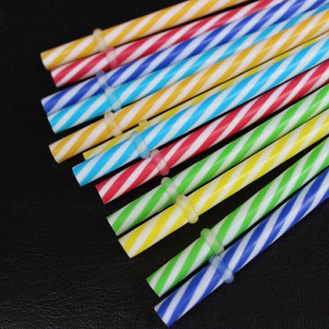 10PCs/ Lot Colorful Striped Plastic Drinking Straws Creative Drinking Straw Wedding Decorations Birthday Bar Party Supplies