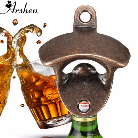 Arshen 1pcs Vintage Bronze Wall Mount Bar Club Wine Beer Soda Glass Cap Bottle Opener Open Tool Without Screw Kitchen Tools Cafe