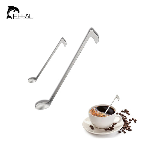 FHEAL 1pcs Music Note Shape Coffee Tea Mixing Spoon Long handle Stainless Steel Cocktail Stir Sticks Spoon Kitchen Bar Tool