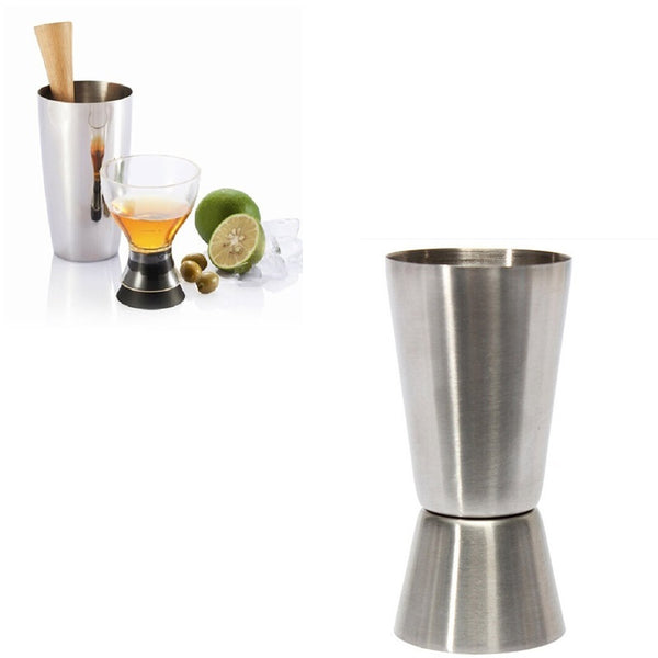 1 pcs Practice New 25- 50ml 2-End Jigger Shot Measure Cup Cocktail Drink Wine Shaker Stainless Bar