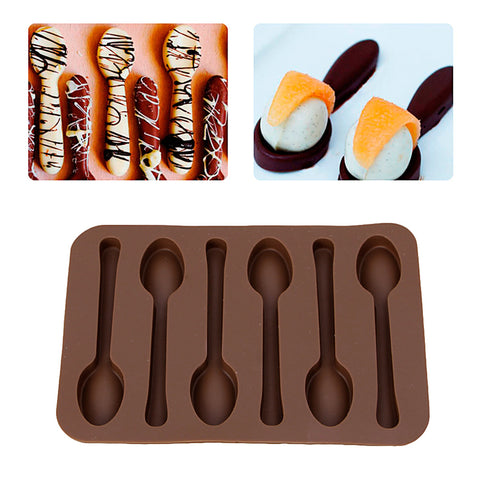 New 1pcs Spoon Chocolate Silicone Molds Baking Mold Biscuit Jelly Candy Mold Baking Kitchenware