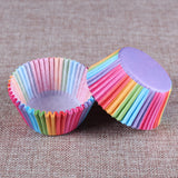 100PCS/Set Colorful Rainbow Paper Cake Cup Paper Cupcake Liner Baking Muffin Box Cup Case Party Tray Cake Mold Decorating Tools