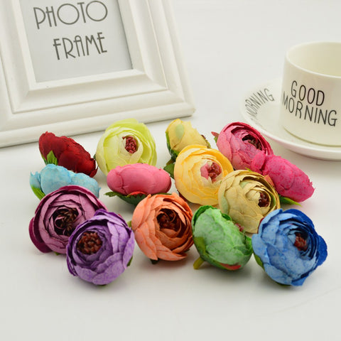 Silk tea rose Artificial Flower Head for home Wedding car Decoration diy Wreaths Candy gift box Small pots dotted fake flower