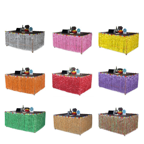 Colorful Flower Hawaiian Luau Tropical Party Table Decoration Grass Skirt Summer Beach Parties Decoration