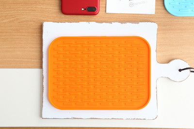 1 pc Rectangle Table Mat Silicone Kitchen Heat Insulation Mat Durable Non-Slip Pot Mat Coaster Cushion Placemat