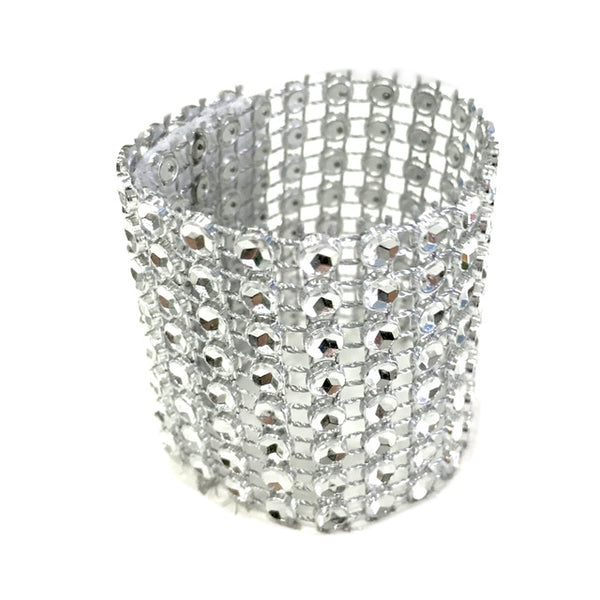10pcs/Pack Gold/Silver 8 Rows Diamond Mesh Rhinestone Bow Covers Holders Wedding Napkin Rings DIY Decorations Table Decor Craft