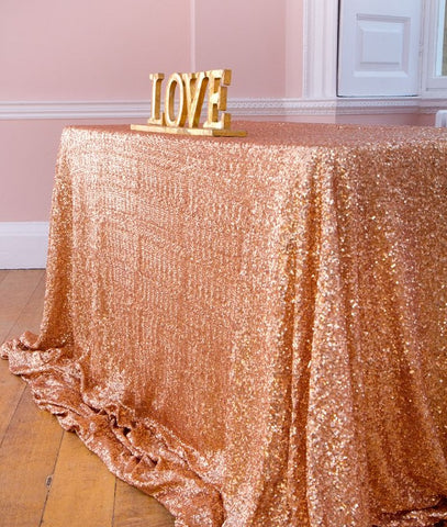 Free Shipping 90x156 inch Rose Gold Sequin Tablecloth Rectangle Style For Wedding Party Banquet Table Cloth Decoration 12 Colors