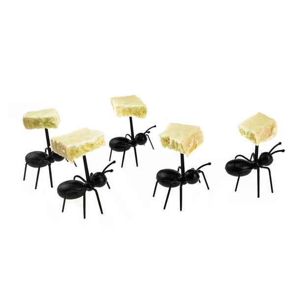 12pcs/set Cute Mini Ant Fruit Fork Eco Friendly Plastic Easy Decoration Kitchen Bar Kids Dessert Forks Tableware