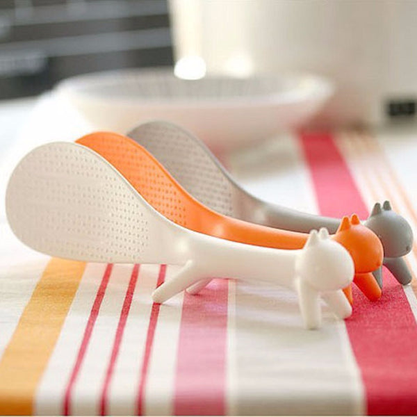 1 Pcs Cute Lovely Kitchen Supplie Squirrel Shaped Ladle Non Stick Rice Paddle Meal Spoon Kitchen Tools Tableware
