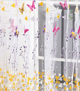 100cm*200cm New Big Butterfly Tulle Door Window Screening Curtain Sheer Drape Panel Scarfs Valances Home Decor