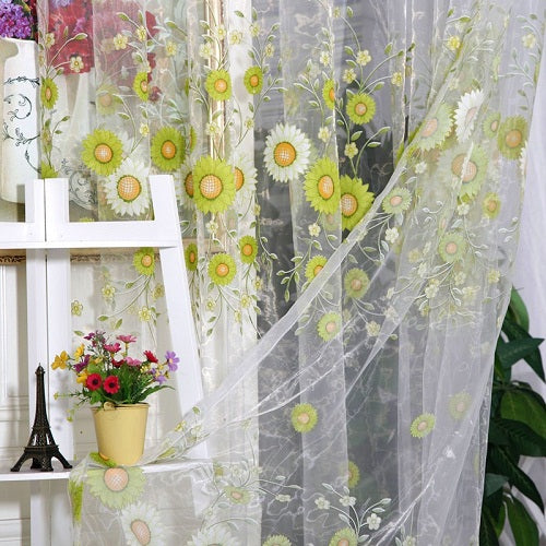 1 pc Home Decoration Curtain Sunflower Design Modern Fabrics Organza Sheer Panel Window For Living Room Decor VBN25 P15