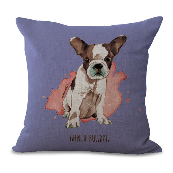 "18"" Fashion Animal Cartoon Dog Cushions Cover Sets of Car Soft Pillowcase Cute Cotton and Linen Pillow Cases Home Decoration"