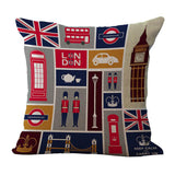 "18"" British Style Cotton and Linen Sofa Pillowcase London Car Logo car Cushion Cover Pillow Cases Wholesale 2017"