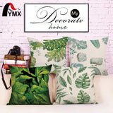 "18"" Fresh and Simple Printed Cotton and Linen Sofa Pillow Green Leaf Pillow Waist Pillow Cases Office Chair Cushion Cover 2017"