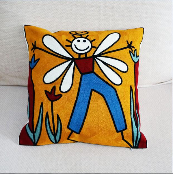 100% Cotton Wings Boy Abstract Embroidered Square Pillow Cover Cushion Case Sofa Chair Cushion Cover 45x45cm Without Stuffing