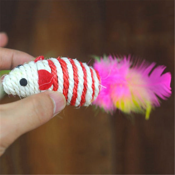 1 Pcs Sisal Hemp Cat Toys Cute Mouse Shape Cat chew toy Cat Playing Fake Cat Training Toy with Feather Pet Supplies