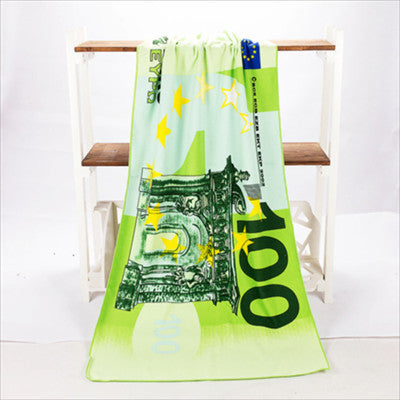 100 Euro Design Sand Beach Towel Microfiber Bath Towel Drying Washcloth Swimwear Shower Summer Protection Supply 70x140cm