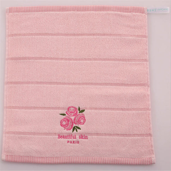 100% Cotton 34x34cm Absorben Quick Dry Baby Face Hand Towel Soft Comfortable Rose Fragrance Embroidered Washcloth