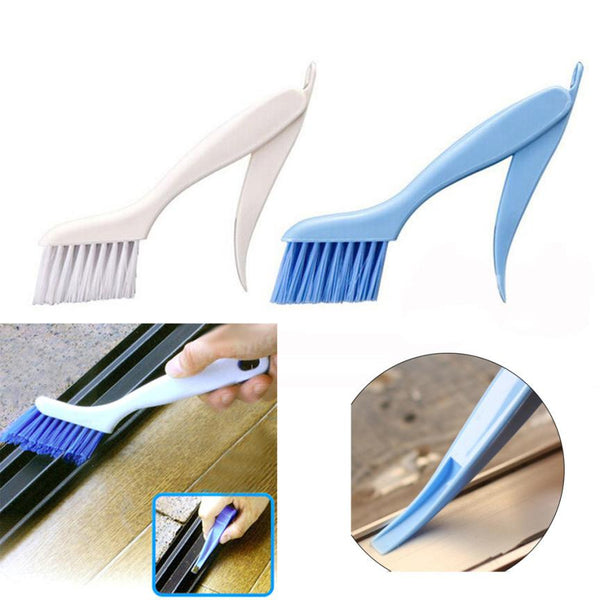 1PC cleaning brush Window Frame Door Slotted Groove Fur Brush Folding With Scraper Cleaning Brush 2JU26