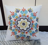 100% Cotton Canvas 3D effect floral Embroidery Throw Pillow Sofa Office Back Cushion Baby Room Decorative 45x45cm Square