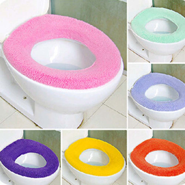 1 PC Candy Color Toilet Cover Seat Lid Pad Soft Warmer Bathroom Pedestal Pan Cushion Washable Toilet Seat Case