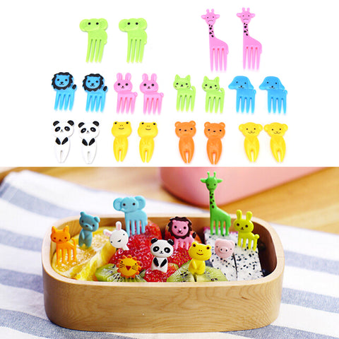 10pcs/pack Animal Farm Fruit Fork Mini Cartoon Children Snack Cake Dessert Food Fruit Pick Toothpick Bento Lunches Party Decor