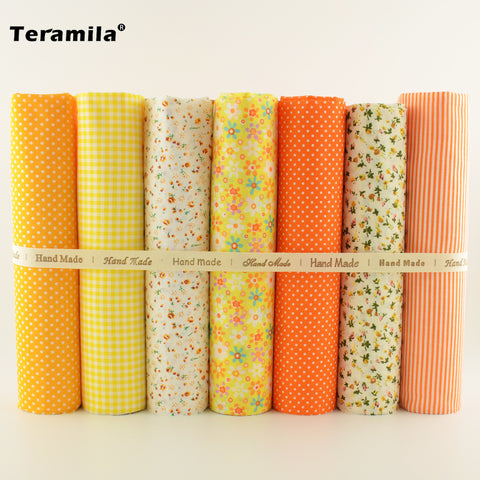 7pcs/lot Multiple Color Cotton Fabric Floral and Dots Design for Home Textile Quilting Meter Desk Decoration Tecido To Patchwork