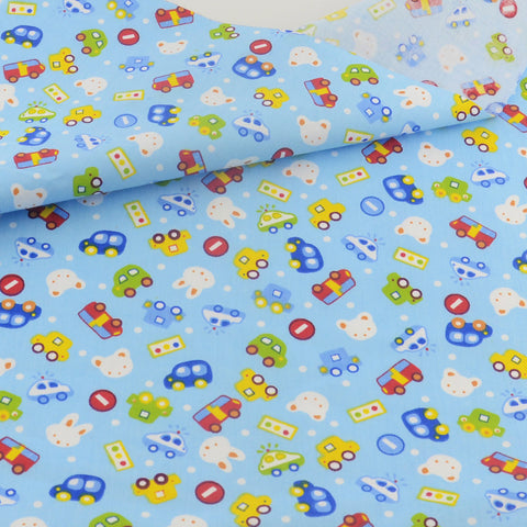 Cotton Fabric Blue Lovely Cars Bedding Decoration Teramila Fabrics Patchwork Quilting Sewing Cloth Craft Tissue Home Textile