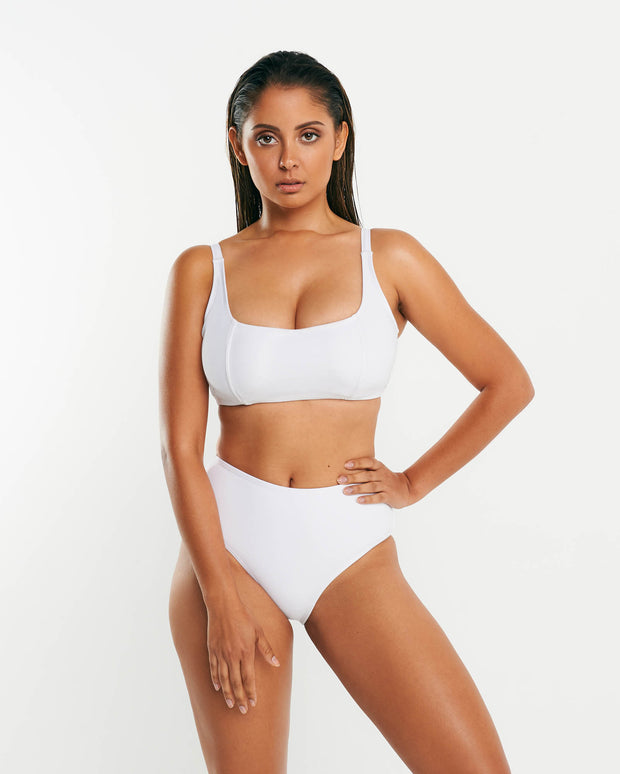 High Waist Full Brief - White