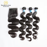 Malaysian virgin hair body wave with closure