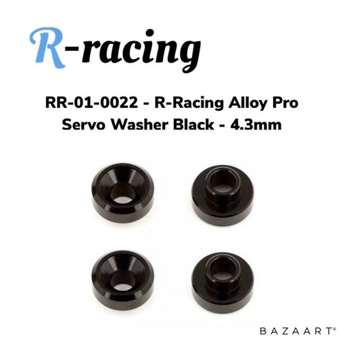 R-Racing Alloy Pro Servo Washer Black 4pk - 4.3mm