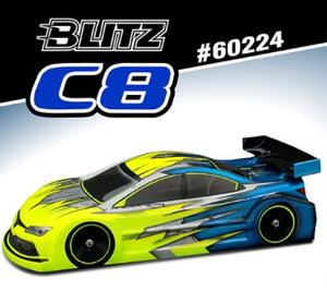 60224 - BLITZ C8 1/10 190mm Touring Car Bodyshell light weight 0.7mm