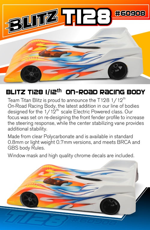 60908-0.8 - BLITZ T128 1/12th On-Road Racing Body Regular Weight 0.8mm