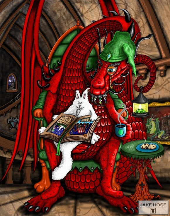 dragons, dogs, cats, fantasy, fun, whimsical, art, Jake Hose
