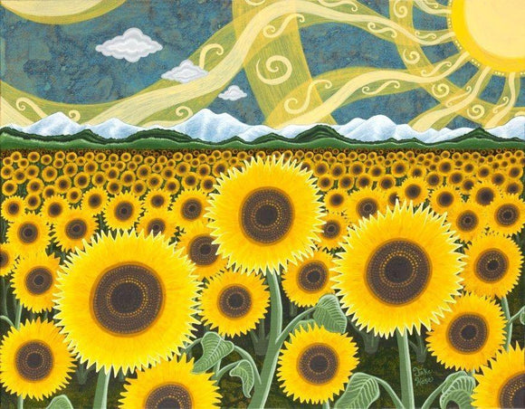 Vibrant Fun Whimsical Art With sunflowers, tulip fields, daffodils, lavender fields, by Artist Jake Hose